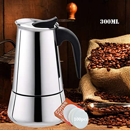 EEX Cafetera Italiana, Cafetera Moka Espressos en Acero Inoxidable 430, Conveniente para la Estufas de Gas,Cafetera Moka Clásica, Uso Doméstico y en la Oficina (Nota:1 Taza es 50ml): Amazon.es: Hogar