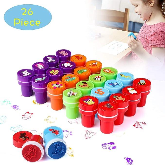 TedGem Stempel Kinder, Kinder Briefmarken, Stempel für Kinder Niedliche Spielzeugstempel aus Plastik Rich in Muster, EIN Gute