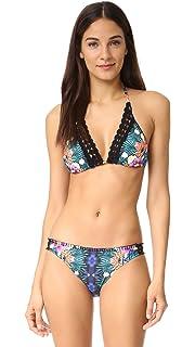 Nanette Lepore Womens Origami Pleats Solid Vixen Triangle Bra Bikini Top