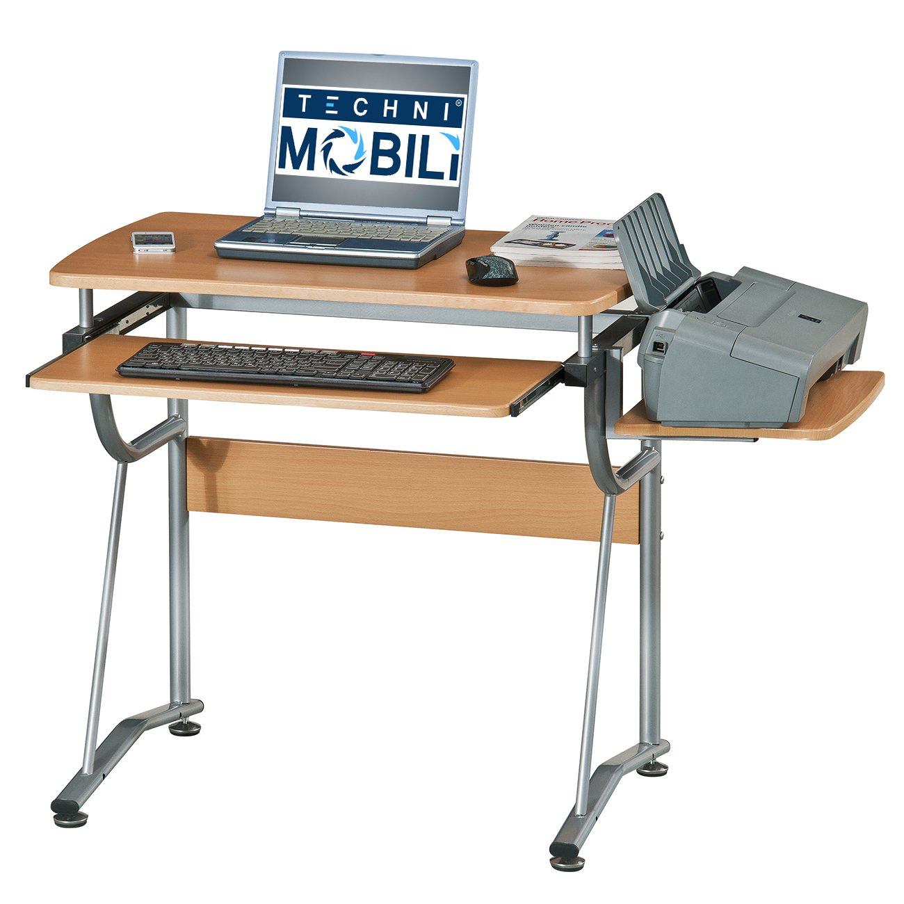 Amazon.com: Techni Mobili Compact Computer Desk With Side Shelf And ...