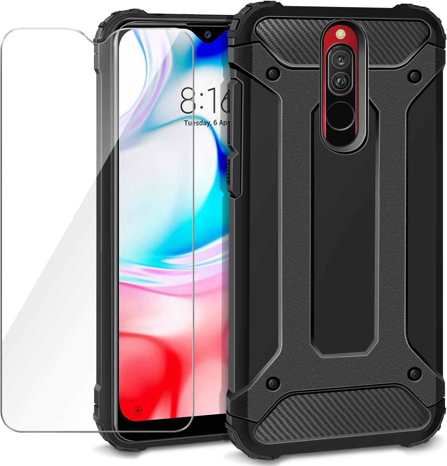 AROYI Funda Xiaomi Redmi 8 + Protectores de Pantalla en Cristal Templado, Robusta Carcasa Híbrida TPU + PC de Doble Capa Anti-arañazos Caso para Xiaomi Redmi 8, Negro