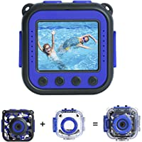 [Upgraded] PROGRACE Kids Waterproof Camera Action Video Digital Camera 1080 HD Camcorder for Boys Toys Gifts Build-in Game(Blue)