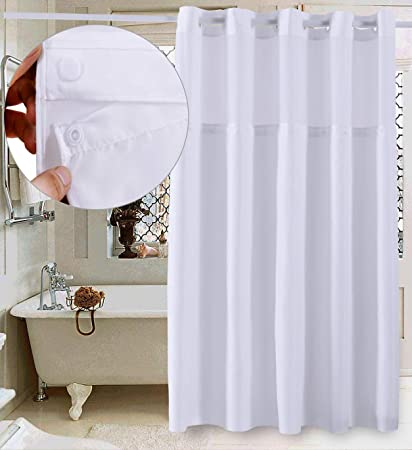 Conbo Mio Hookless Shower Curtain Snap In Liner Bathroom Waterproof Anti Mildew Bacterial Resistant Rust Proof