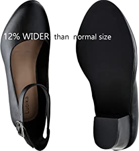 Luoika Women's Wide Width Heel Pump