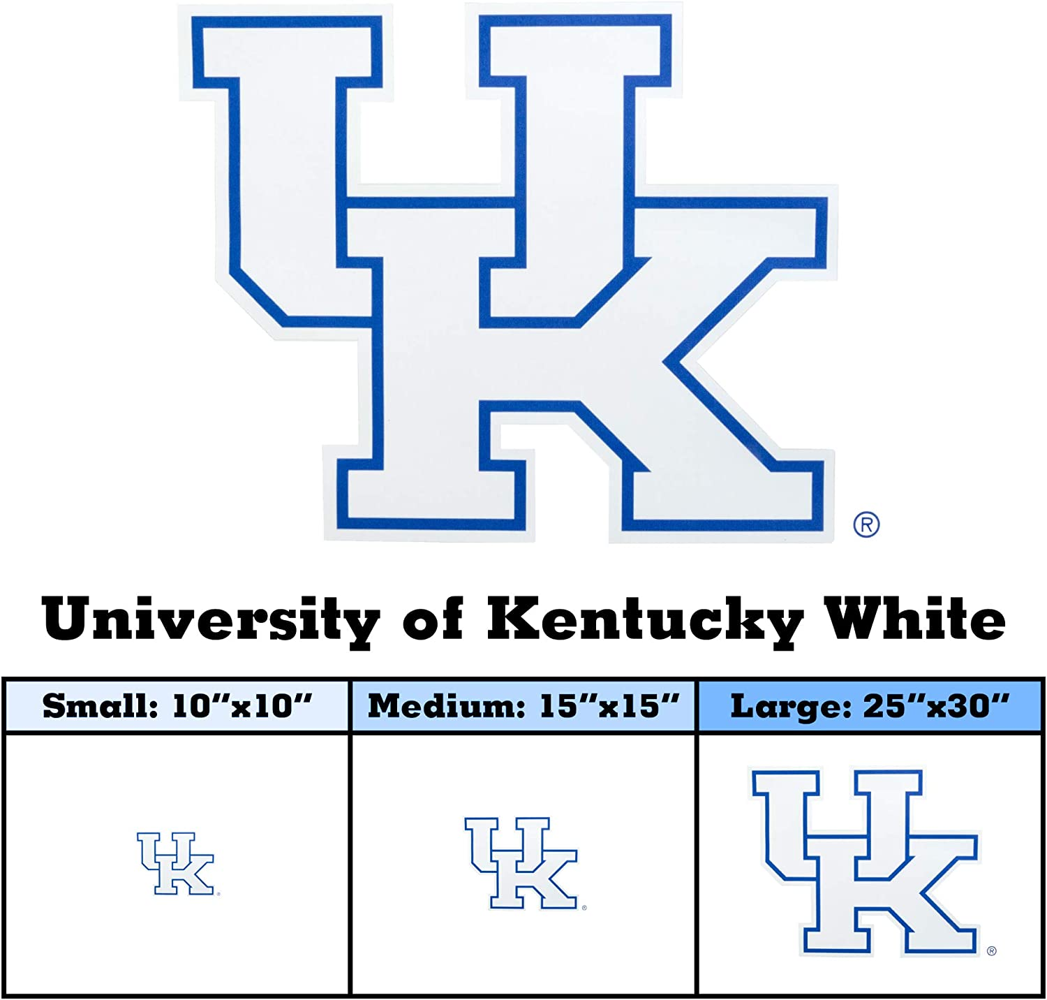 Premium Reusable Athletic Stickers University of Kentucky White, 15 x 15 Trucks Tailgating Cars GameDay Graphics University of Kentucky Vehicle Sticker Decals College Sports Teams