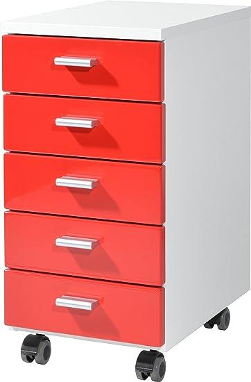 Rollcontainer Rot germania rollcontainer 4099 142 mit 5 schubkästen in weiß rot 28 x