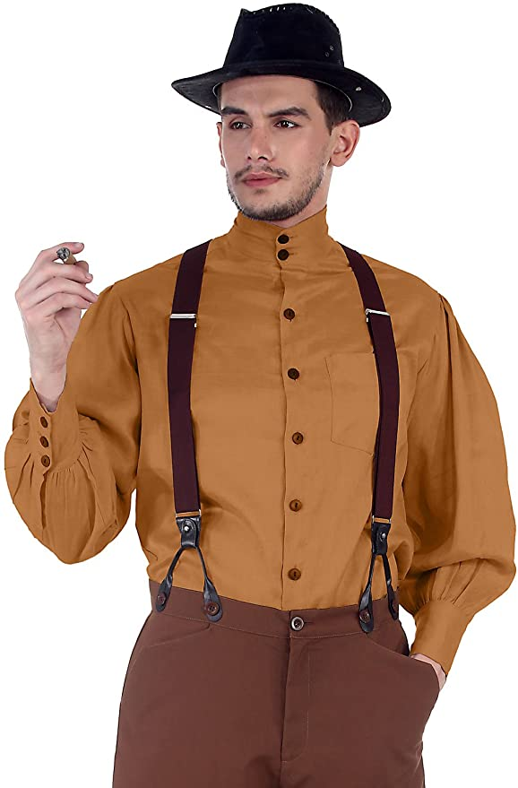 Steampunk Men's Shirts Steampunk Victorian Costume Seigneur Shirt [Gold]  AT vintagedancer.com