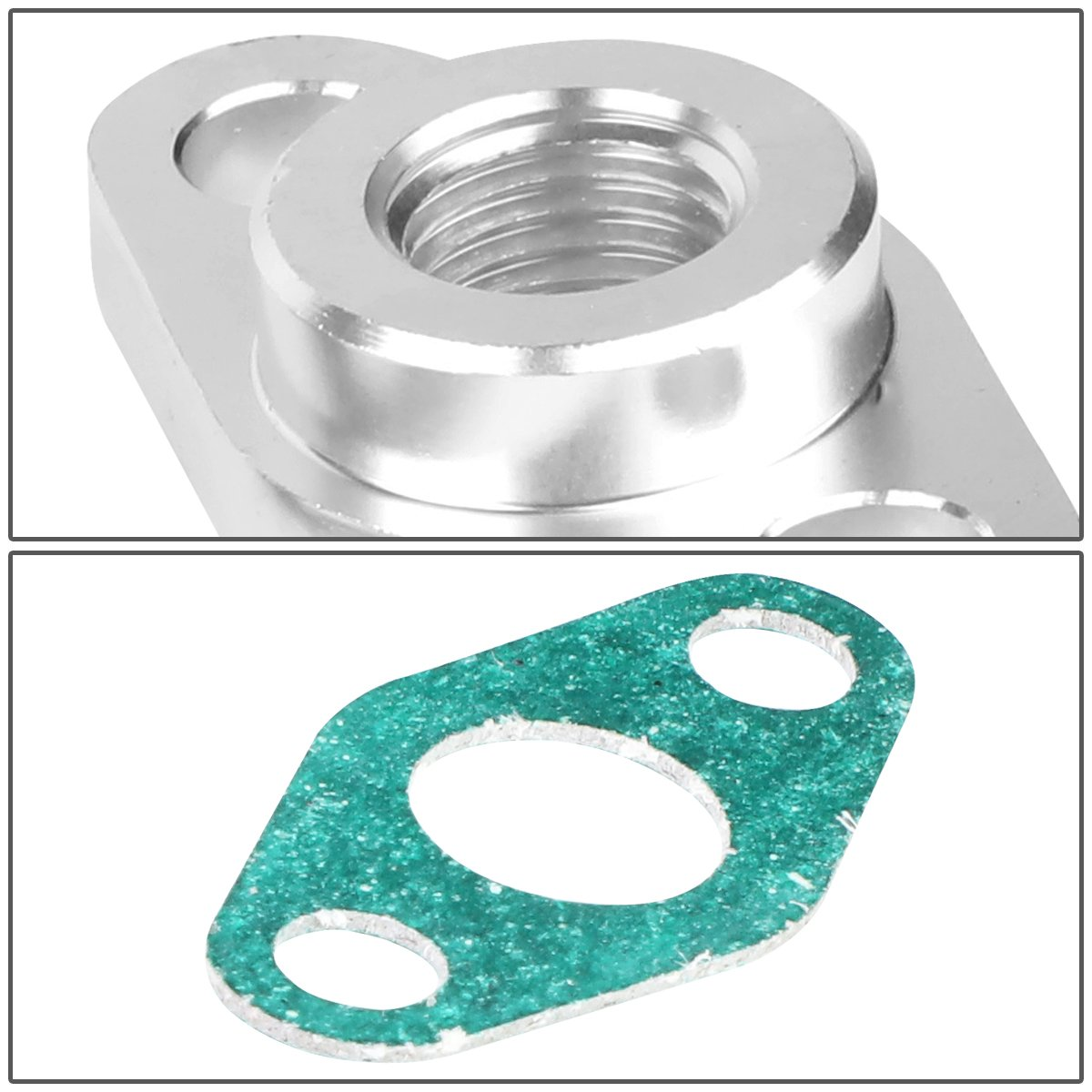 T3 NPT Adapter Fitting T4 Turbocharger Billet Aluminum Oil Feed 1//4 inches NPT Gasket /& Bolts