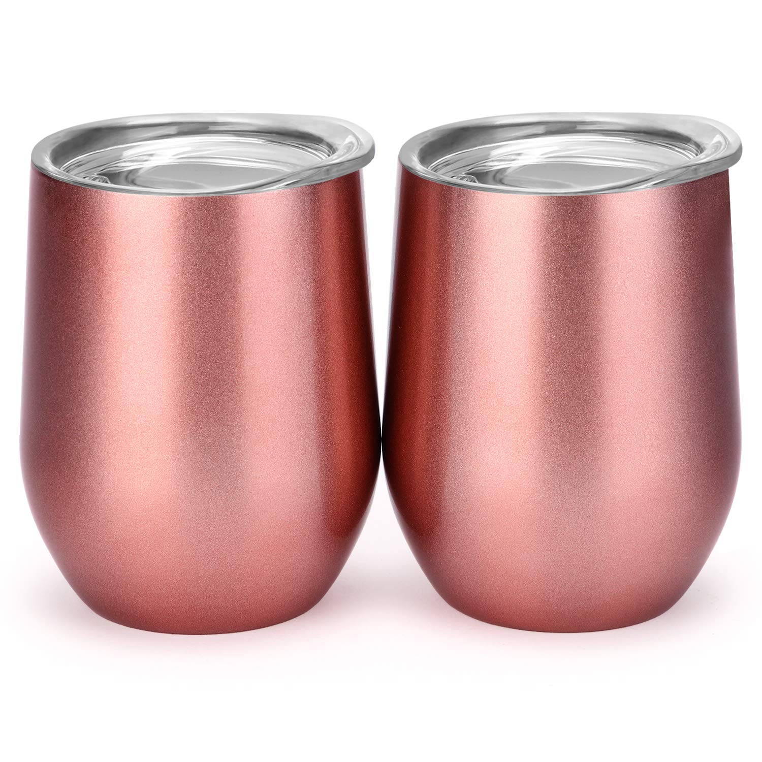 12 oz Double-insulated Stemless Glass, Stainless Steel Tumbler Cup with Lids for Wine, Coffee, Drinks, Champagne, Cocktails, 2 Sets (Rose Gold)