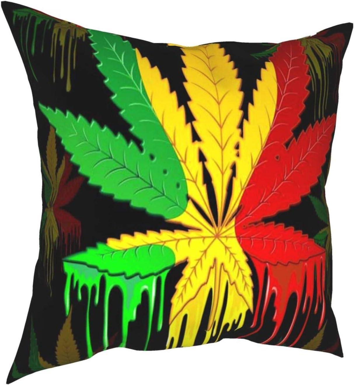 Saatchi Art Artist Marihuana Leaf Rasta Colores Pintura Goteo Decorativa Cuadrada Doble Cara Impresión Funda de Almohada Sofá Fundas de Almohada 45,7 x 45,7 cm
