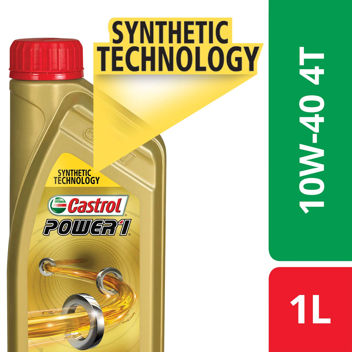 Castrol POWER1 4T 10W-40 API SN Synthetic Engine Oil for Bikes (1L) (3420024)