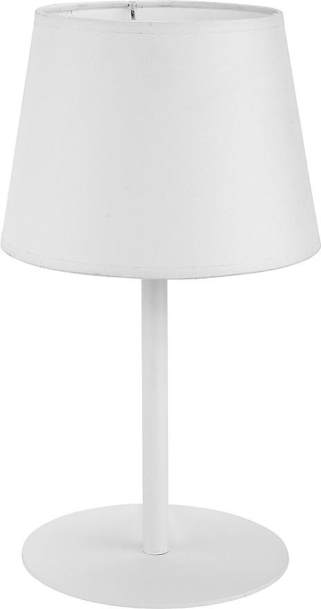 Lámpara de mesa pantalla de tela color blanco estructura de ...