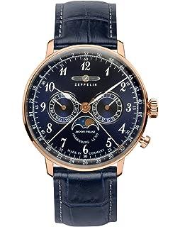 Graf Zeppelin Hindenburg Swiss Quartz Moonphase Calendar Dress Watch 7038-3