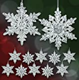 Acrylic Iridescent Snowflake Christmas Ornaments - Set of 12 Assorted Styles of Snowflakes - Clear Acrylic with Glitter - Winter Snowflake Decorations