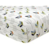 Just Born 100% Cotton Fitted Crib Sheets, Adventure Arrows, White/Blue/Orange