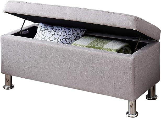 IDIMEX Banc de lit Nizza Coffre de Rangement avec Assise rembourrée Pouf capitonné Bout de lit avec Pieds en métal chromé, Structure en MDF et