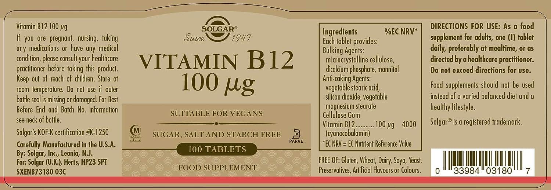 Solgar, Vitamina B12 100 MCG, 100 comprimidos: Amazon.es: Salud y cuidado personal