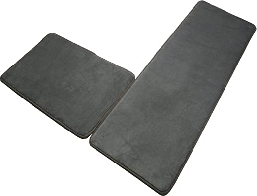 SHACOS Memory Foam Bath Rugs Mats Set of 2 Pieces Non Slip Microfiber  Bathroom Runner Rugs Kitchen Mats Absorbent Washable (16x24+16x47inch, Grey)