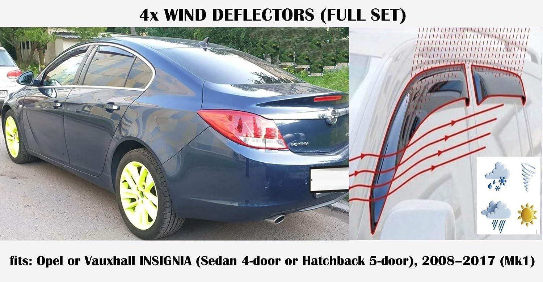 Mrp Set Of 4 Wind Deflectors Compatible with OPEL//VAUXHALL INSIGNIA 4 doors Sedan//Saloon 2008 2009 2010 2011 2012 2013 2014 2015 2016 2017 Side Visors Window Deflectors IN-CHANNEL Type