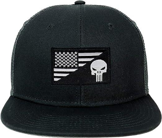 Oversize XXL Punisher Black White USA Flag Patch 5 Panel Flatbill Snapback Cap