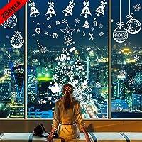 BESTZY Venstersticker voor Kerstmis, 256 Stuks, Raamstickers met Sneeuwvlokdecoraties voor Kerst, voor Ruit, Muur en…