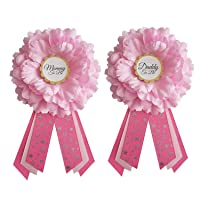 Baby Shower Sash and Pins for Baby Girl Shower by LMC | Mommy To Be Sash and Corsage | USA Handmade | Hot Pink