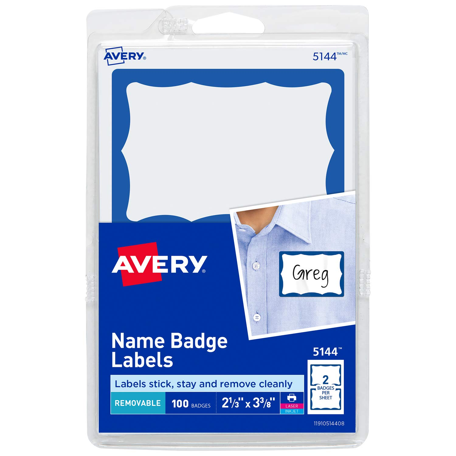 Avery Personalized Name Tags, Print or Write, Blue Border, 2-1/3 x 3-3/8, 600 Adhesive Tags (5144) Pack of 6 2-1/3 x 3-3/8 Avery Products Corporation 44144