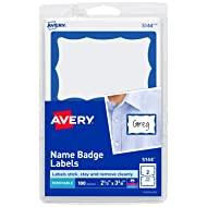 "Avery Personalized Name Tags, Print or Write, Blue Border, 2-1/3"" x 3-3/8"", 100 Adhesive Tags (5144)"