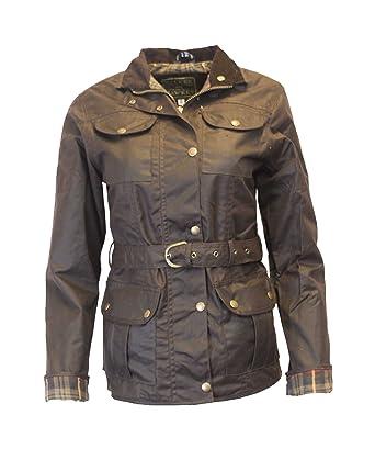 51ba8986b51c Walker   Hawkes - Veste cirée pour femme - 4 poches ceinture - marron -