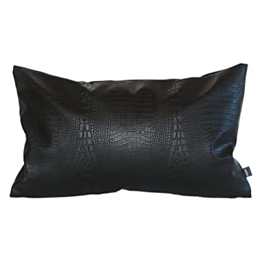 Kdays Black Crocodile Skin Thick & Soft Faux Leather Lumbar Pillow Cover Decorative for Couch Throw Pillow Case Black Leather Cushion Modern Minimalist Waterproof Pillow Cover 12x20 Inches