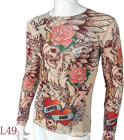 tzxdbh Tatuaje Tatuaje Camiseta de Manga Larga Camisa de Mujer con Estampado Digital Camisa de Fondo Festival de música Disfraz L49 骷髅 花 170CM-182CM 60KG-110KG: Amazon.es: Hogar