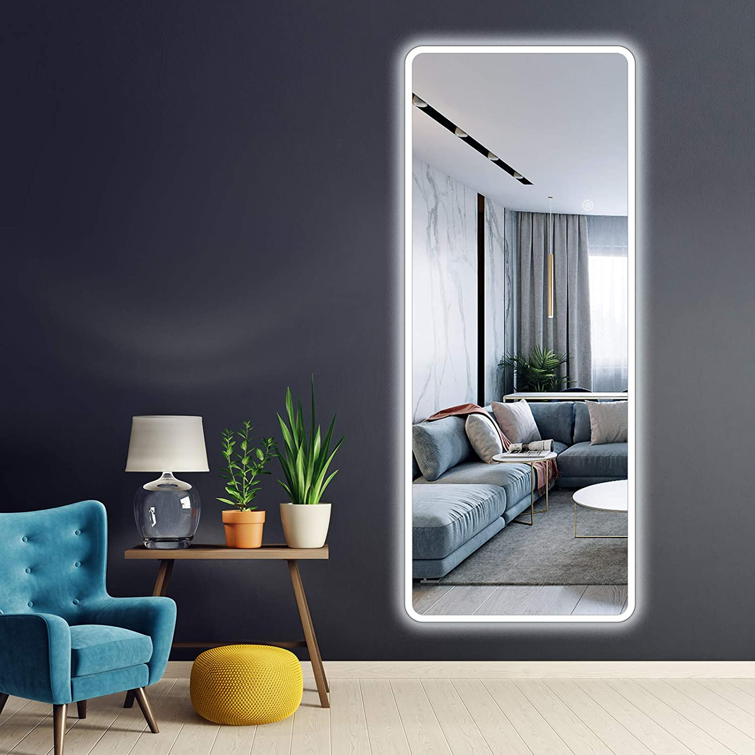 Amazon Com Viiyseam 59 X24 Wall Mounted Led Vanity Backlit Mirror Oversized Full Length Dressing Mirror With Aluminum Frame Touch Button Stepless Dimmable Lighting Bathroom Bedroom Rectangle Whole Body Mirror Kitchen Dining