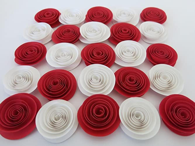 red and white bridal shower decorations 24 pieces paper roses set 15 flowers