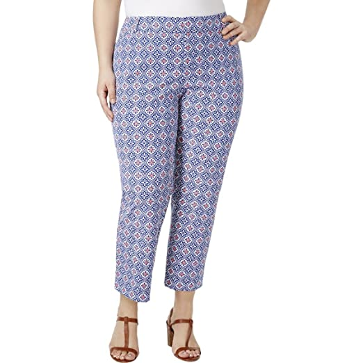 eba1b8aab036d Charter Club Womens Plus Newport Printed Cropped Casual Pants Blue 22W at  Amazon Women s Clothing store