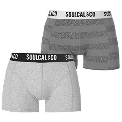 SoulCal Mens Trunks Boxers Pack of 2 Underwear Pattern Stretch Elasticated  Waist GreyMarl Stripe XS 8e3bf4270