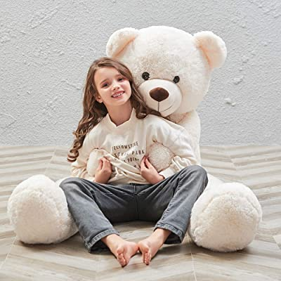 MorisMos Giant Teddy Bear Stuffed Animals Plush Toy White Teddy Bear for Girlfriend Kids (White, 55 Inch): Toys & Games