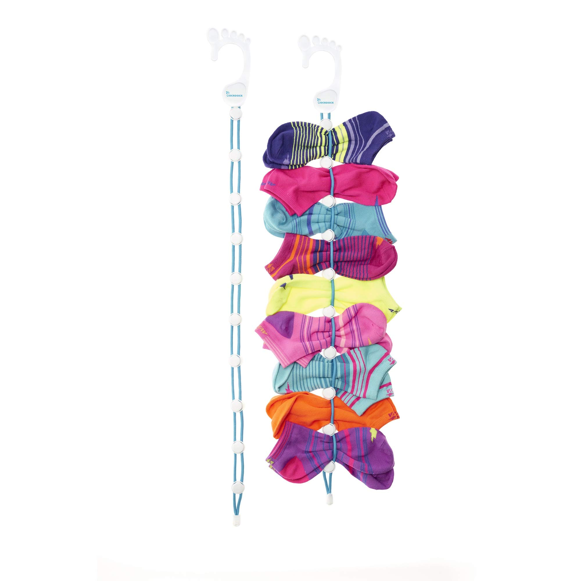 SockDock 2 Pack Sock Laundry and Storage Hangers, Closet Organizers, Easy Clips & Locks Paired Socks Without Ties, Mesh Bags, Bins, Baskets, Drawers, Dividers or Containers (Blue)