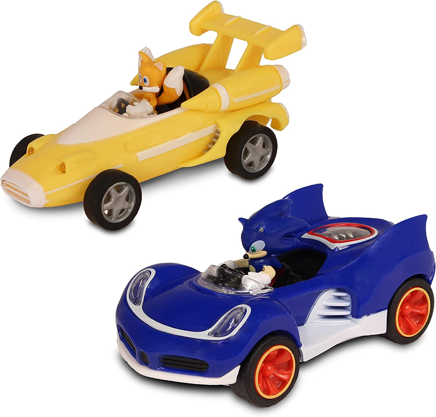 Amazon Com Sonic Transformed All Stars Racing Pull Back Action Tails And Sonic Hedgehog Toys Games