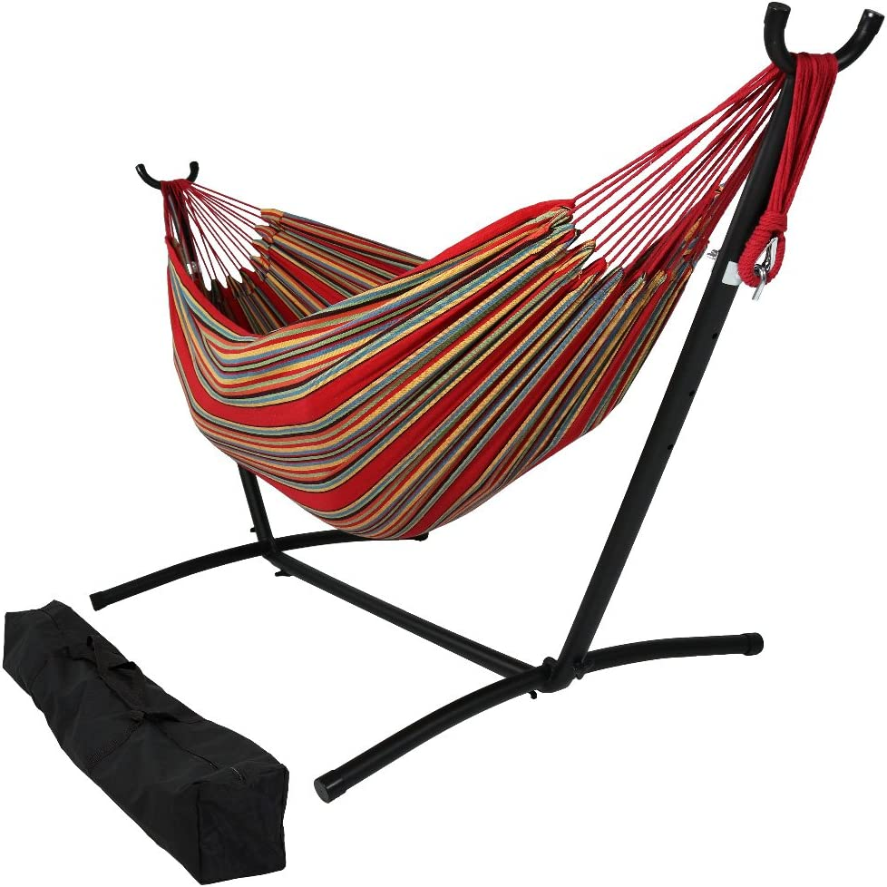 Sunnydaze 9 ft Steel Hammock Stand with Double Brazilian Hammock Combo - Sunset