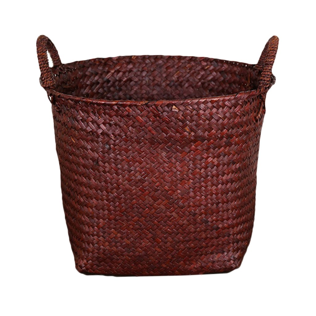 B Blesiya Seagrass Basket Flower Planter Pots Laundry Storage Holder Home Garden Decor - chocolate