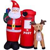 ASTEROUTDOOR 6ft Christmas Decorations Inflatable Claus with Mailbox Reindeer Blow Up Built-in LED Outdoor Indoor Yard Lighte