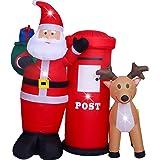 AsterOutdoor - Decoración de Navidad Inflable para Exteriores (1,8 m), diseño de Claus, decoración navideña, Aire rápido…