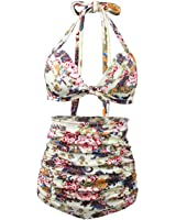 High Waist Bikini,Scawing High Waist Plus Size Woman Bikini Swimming Suit Retro Style