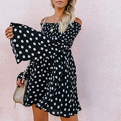 YKARITIANNA Polka Dot Flare Sleeve Mini Dresses 2018 Women Sexy Long Sleeves Off Shoulder Dresses Boho Girls Dresses at Amazon Womens Clothing store: