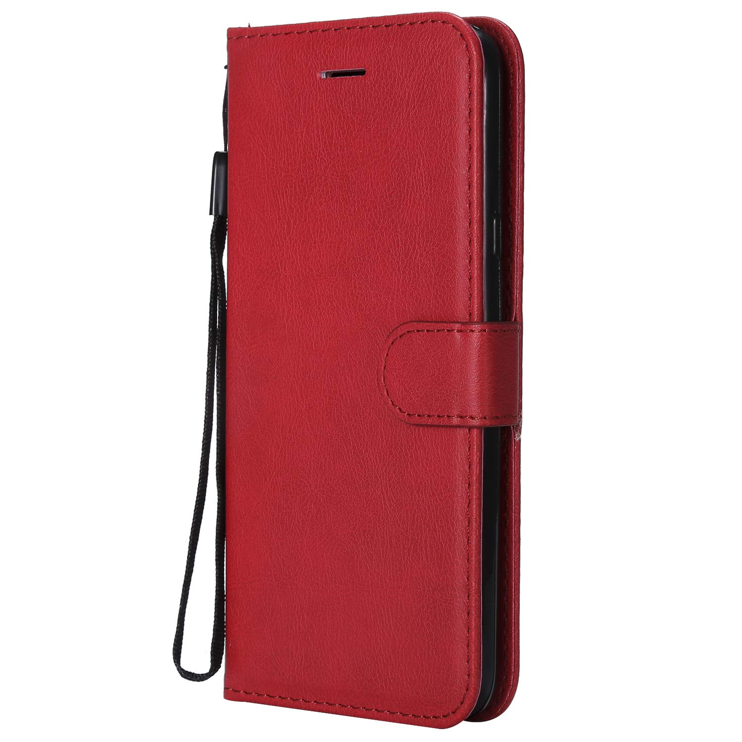 Galaxy J7 Duo Case, AIIYG DS Classic Pure Color [Kickstand Feature] Flip Folio Leather Wallet Case with ID and Credit Card Pockets for Samsung Galaxy J7 Duo 2018 Red