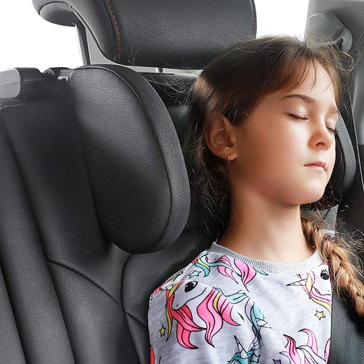 Car Seat Headrest Pillow 180 Degree Adjustable Both Sides Travel Sleeping Cushion for Kids Adults Travel Head Neck Support Detachable,Premium seat held Pillow Black Headrest for car