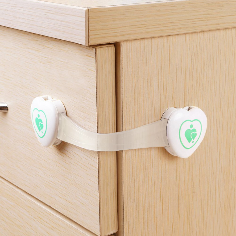 BABY MATE Premium 18 PCS Adjustable Drawer Cabinet Latches for Baby Proof (3.5 Long Strap, White) - Multi-use Child Safety Locks Set - No Drill Latches for Home Safety, Appliances, Toilet Seat 2082CA
