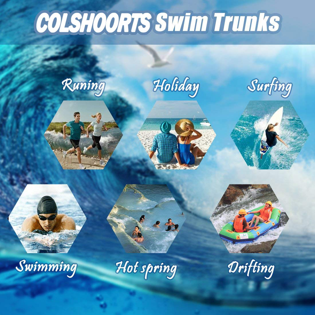 COLSHOORTS Boston Irish Shamrock Drawstring Swim Trunks Casual Surfing Trunks for Men