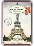 Cavallini - Glitter Greetings Postcards - Vintage Paris - Tin of 12 Postcards - 6 Designs/2 Per Design