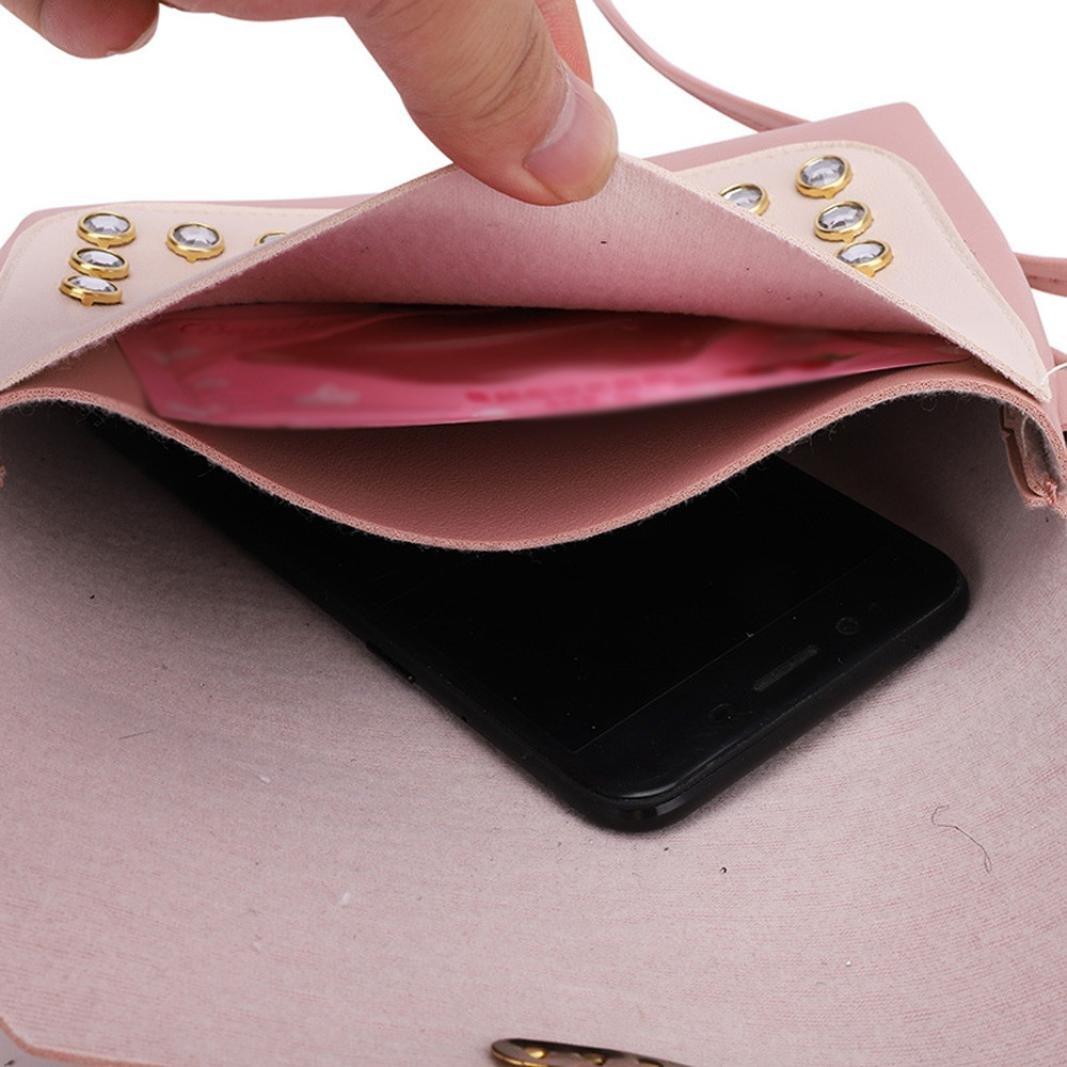 Handbags,YIYEZI Women Hit Color Rhinestone Shoulder Bag Messenger Satchel Tote Crossbody Bag (Gray) by YIYEZI (Image #8)